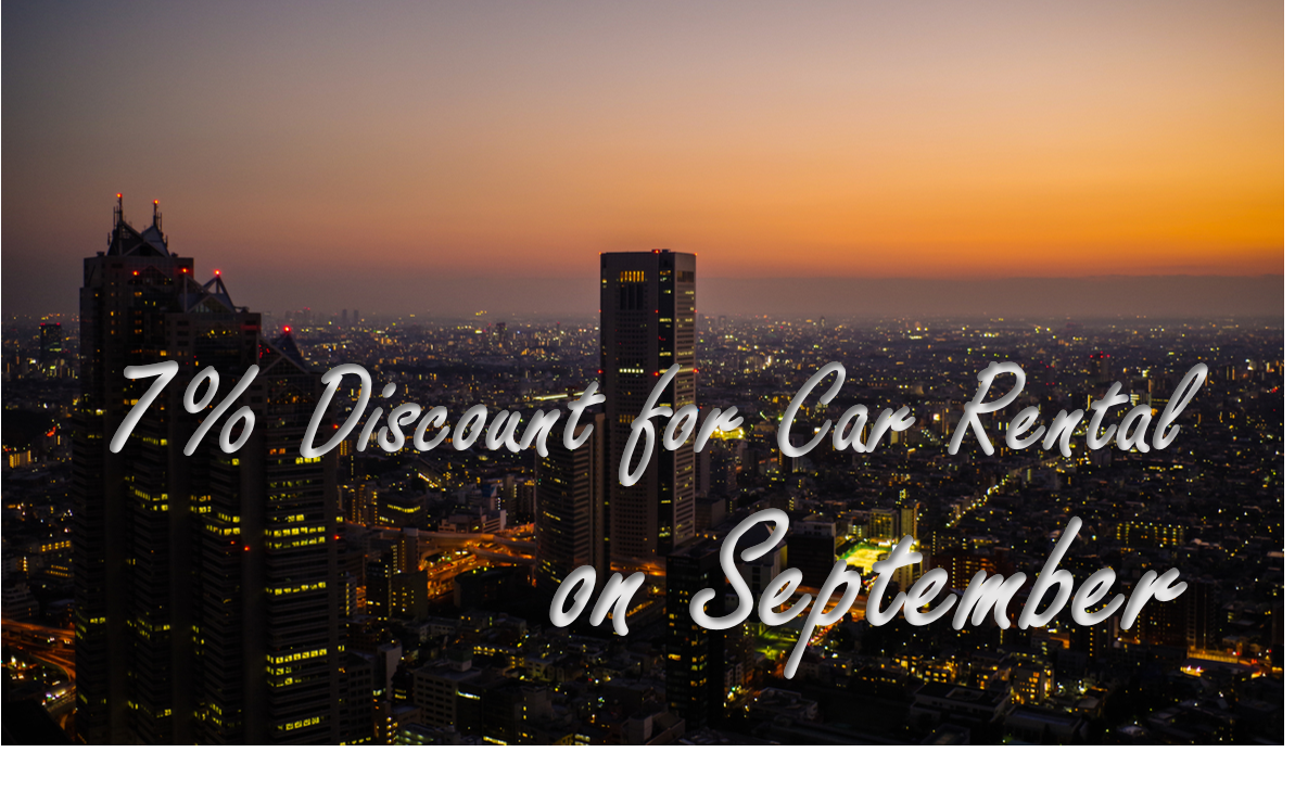 7% Discount for Car Rental on September