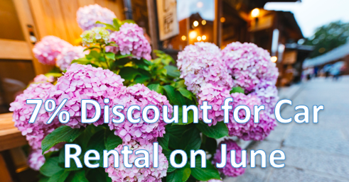 7% Discount for Car Rental on June