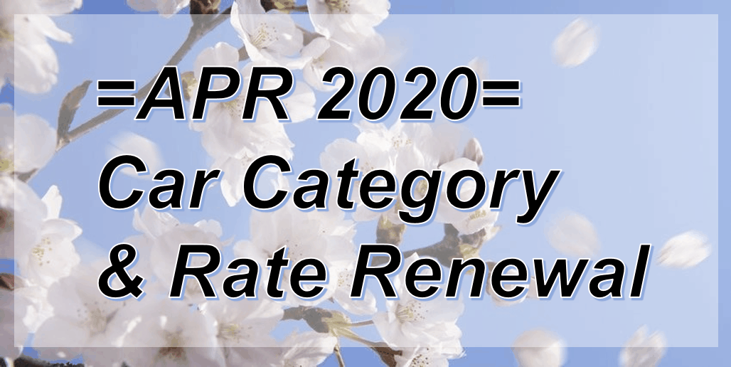 Car Category & Rate Renewal as of 1 Apr 2020